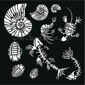 Stencil 30x30 fossielen